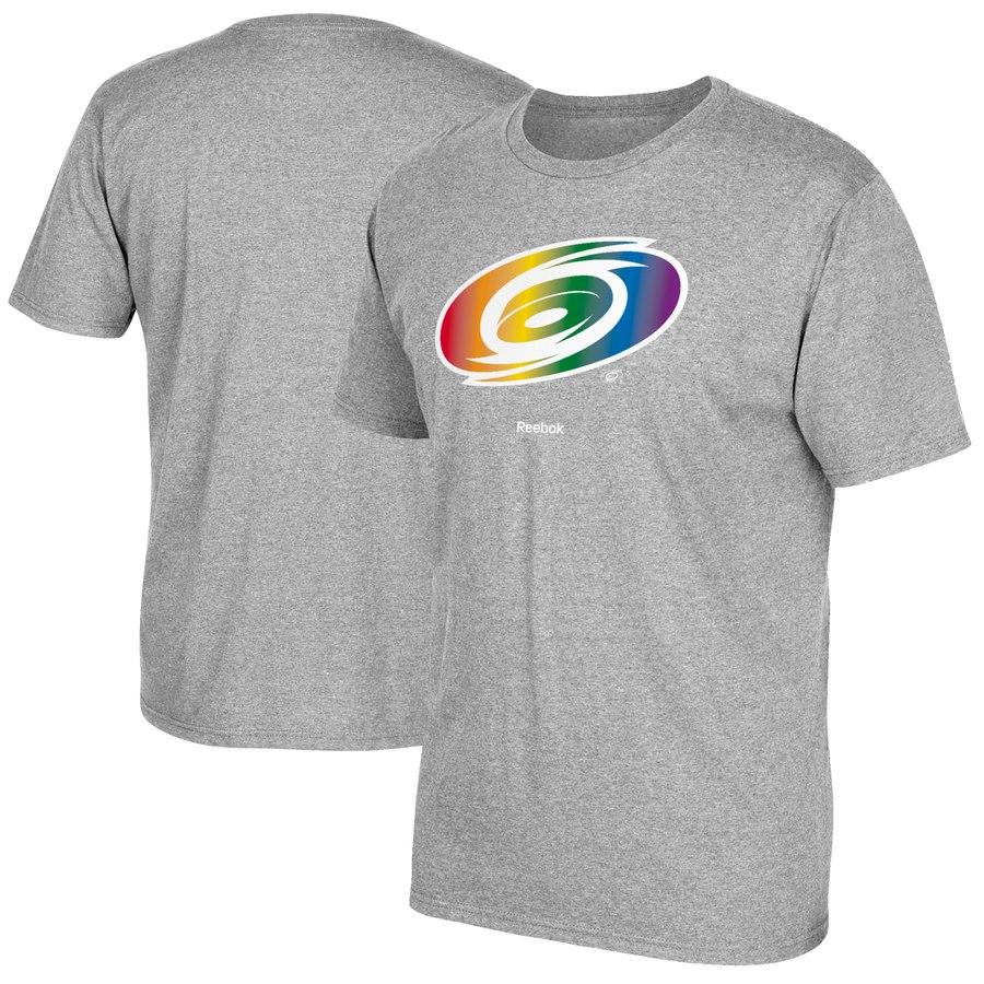 Carolina Hurricanes Reebok Rainbow Pride T-Shirt Gray