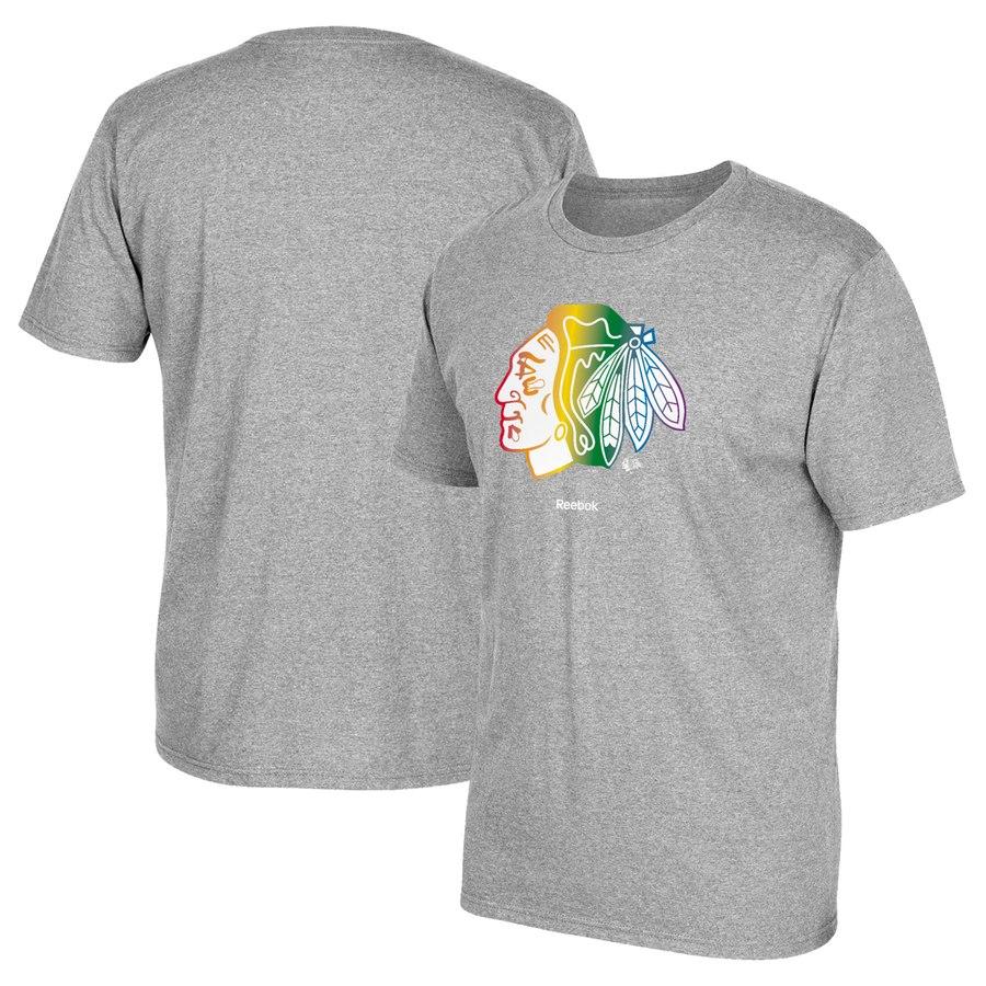 Chicago Blackhawks Reebok Rainbow Pride T-Shirt Gray
