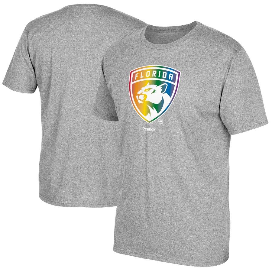Florida Panthers Reebok Rainbow Pride T-Shirt Gray
