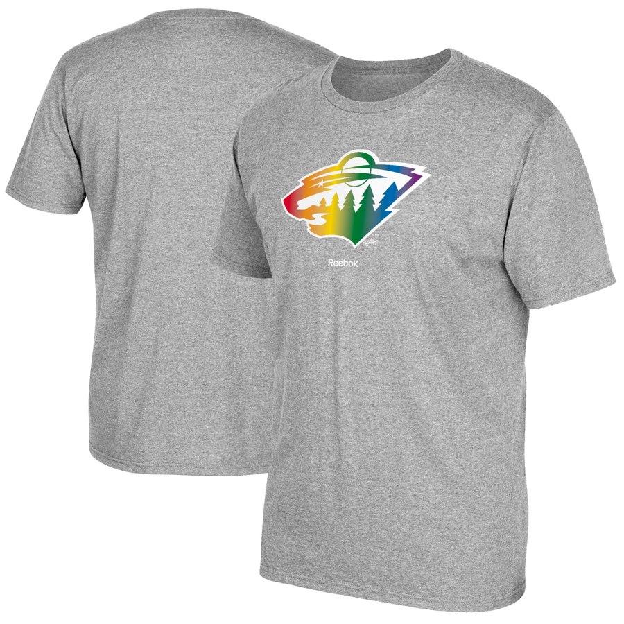 Minnesota Wild Reebok Rainbow Pride T-Shirt Gray