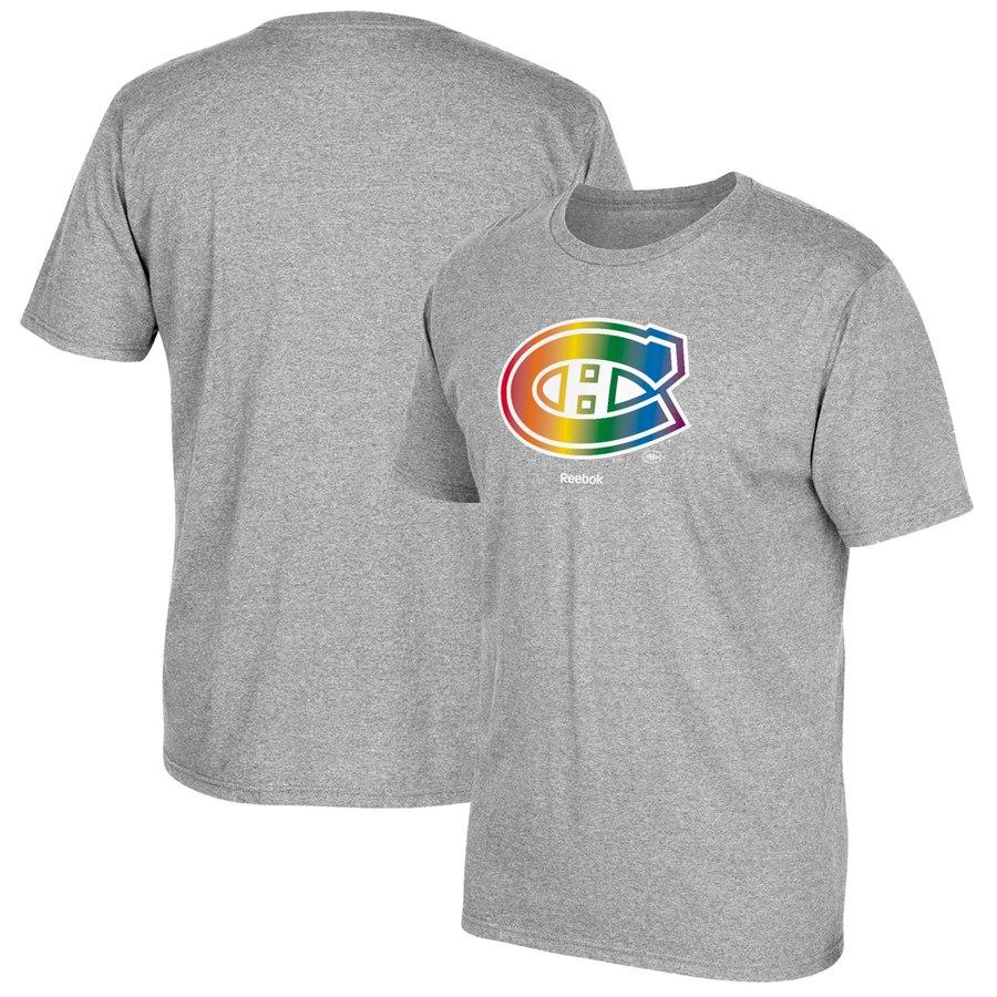 Montreal Canadiens Reebok Rainbow Pride T-Shirt Gray