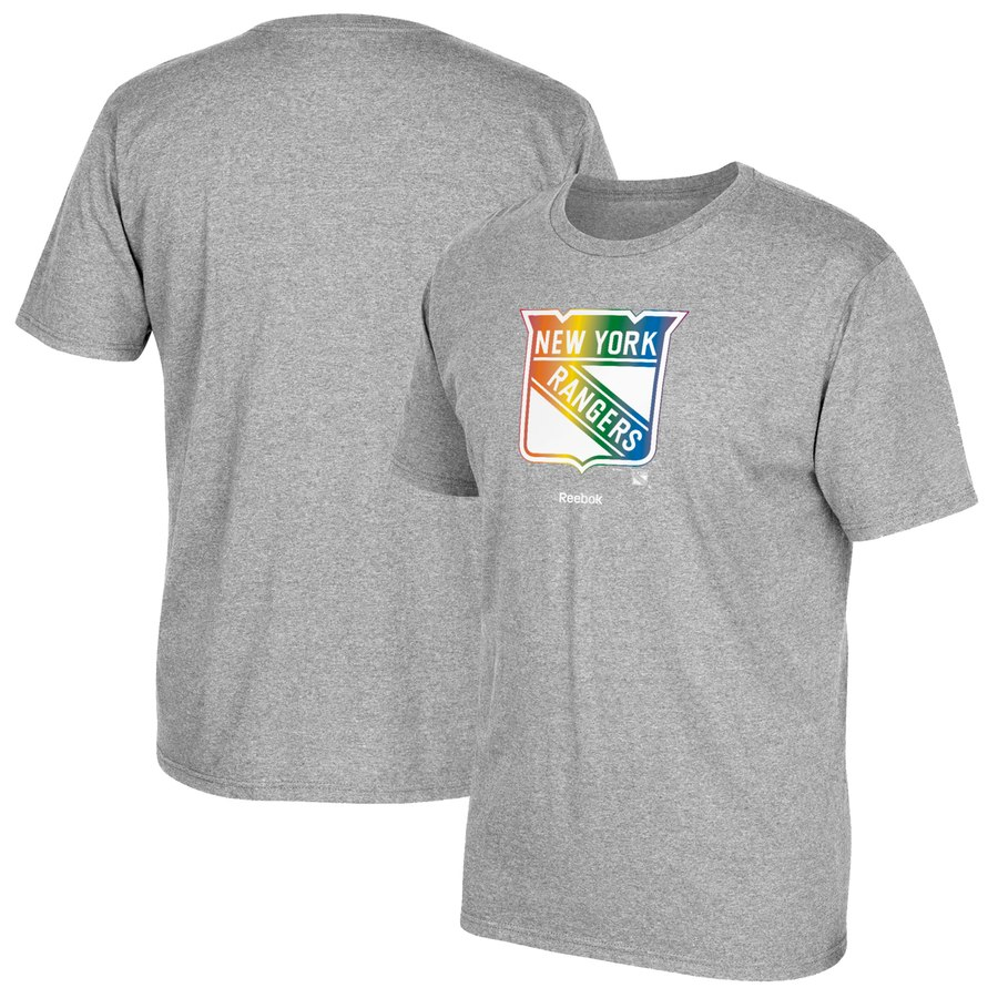 New York Rangers Reebok Rainbow Pride T-Shirt Gray