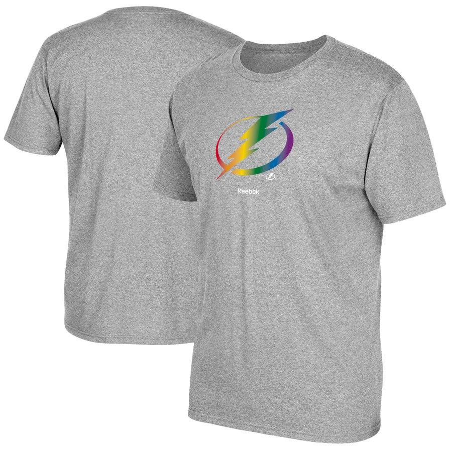 Tampa Bay Lightning Reebok Rainbow Pride T-Shirt Gray