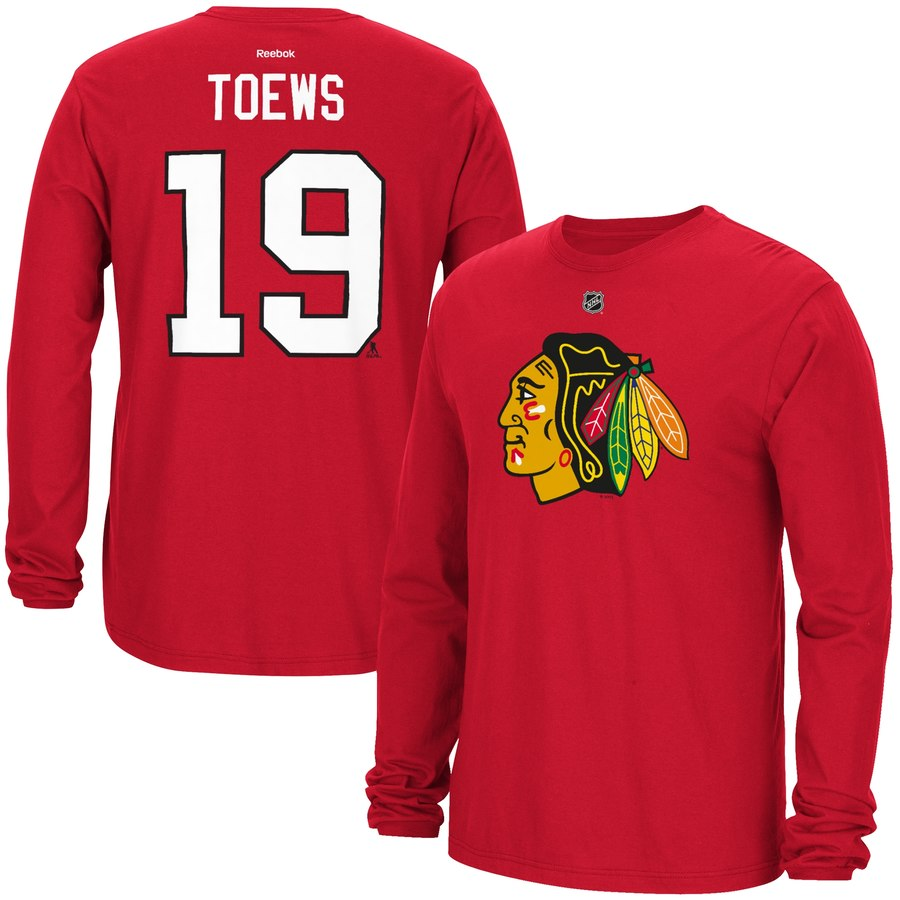 Chicago Blackhawks #19 Jonathan Toews Reebok Long Sleeve Player Name & Number T-Shirt Red