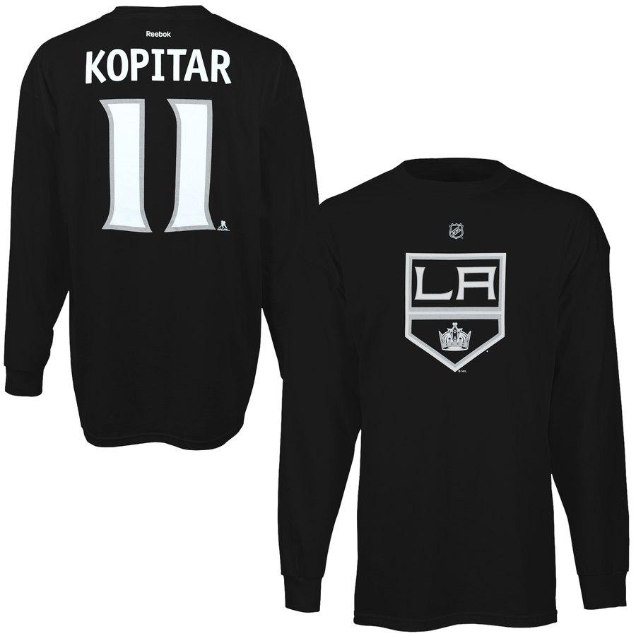 Los Angeles Kings #11 Anze Kopitar Reebok Name & Number Long Sleeve T-Shirt Black