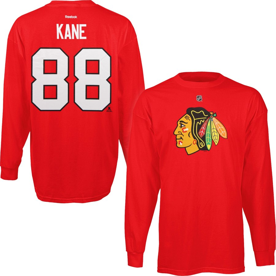 Chicago Blackhawks #88 Patrick Kane Reebok Long Sleeve Player Name & Number T-Shirt Red