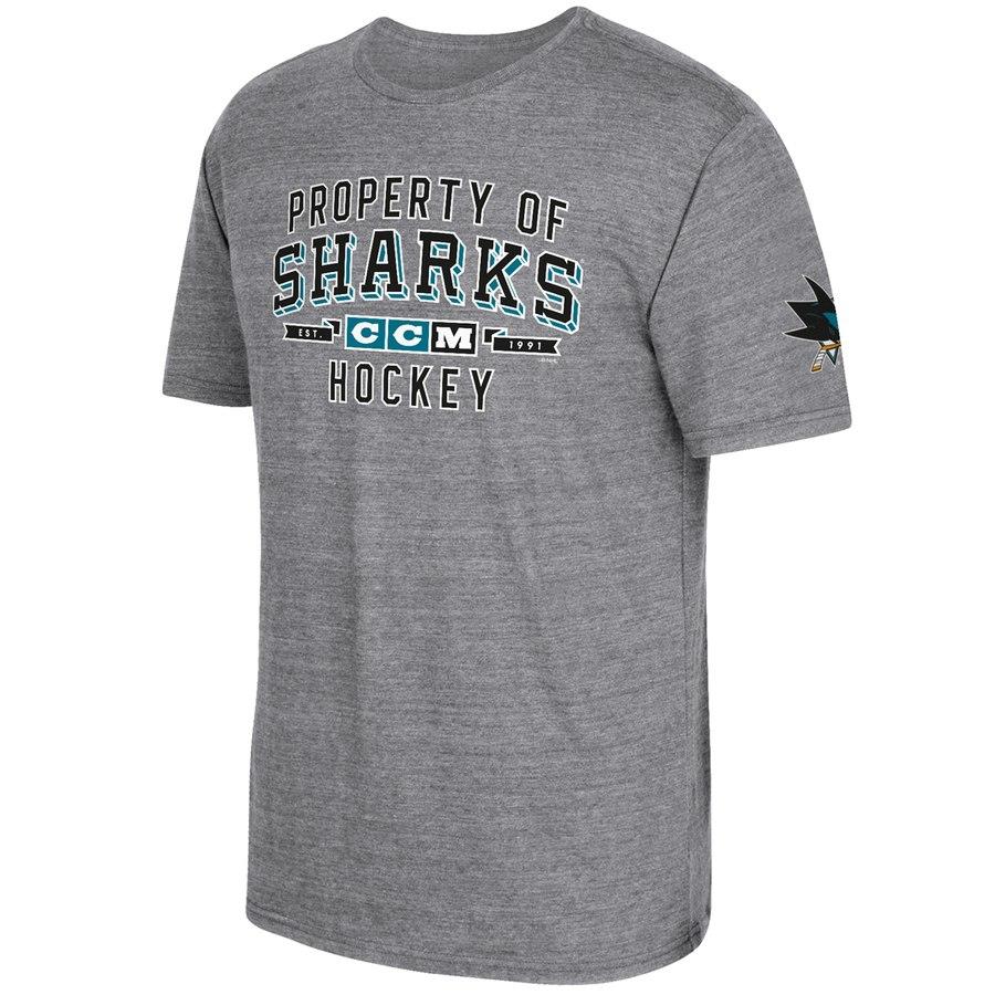 San Jose Sharks CCM Property Block Tri-Blend T-Shirt Gray
