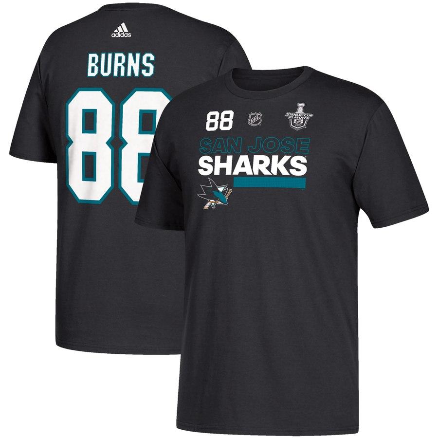 San Jose Sharks #88 Brent Burns adidas 2018 Stanley Cup Playoffs Participant Name & Number T-Shirt Black
