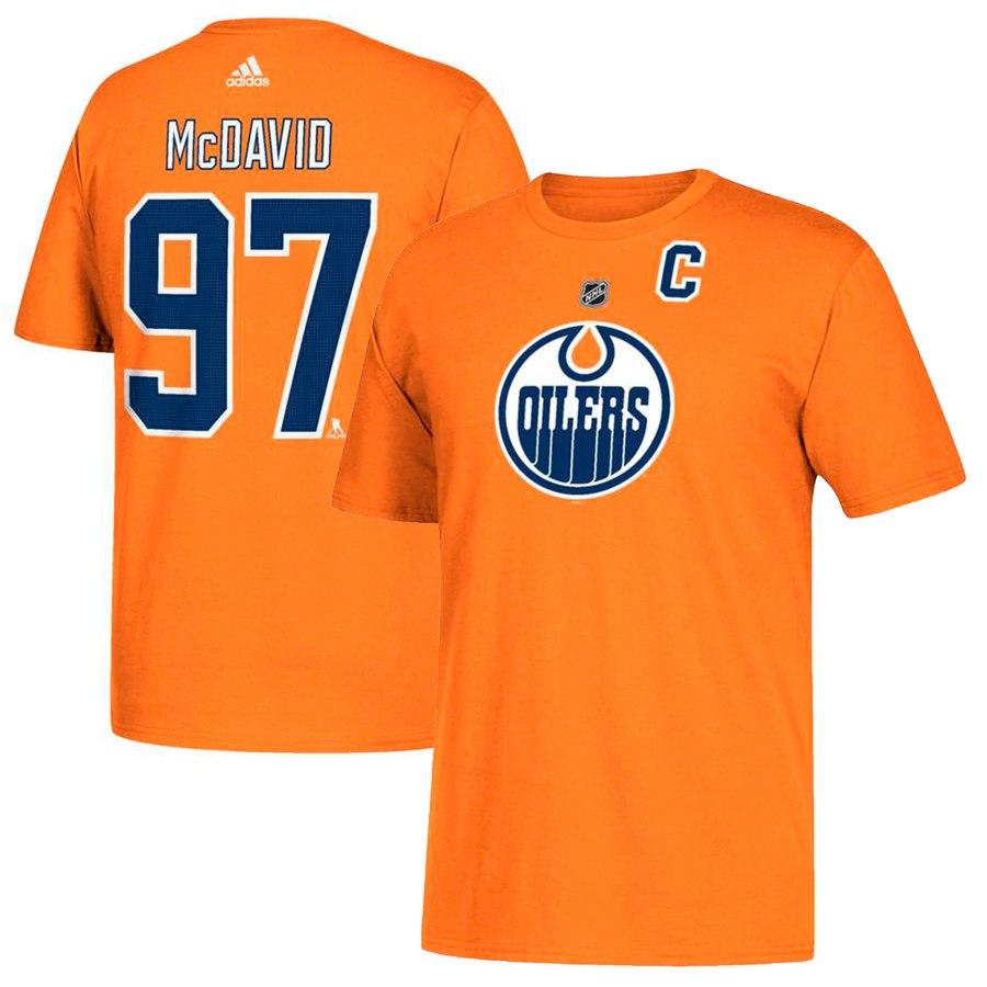 Edmonton Oilers #97 Connor McDavid adidas Name & Number T-Shirt Orange