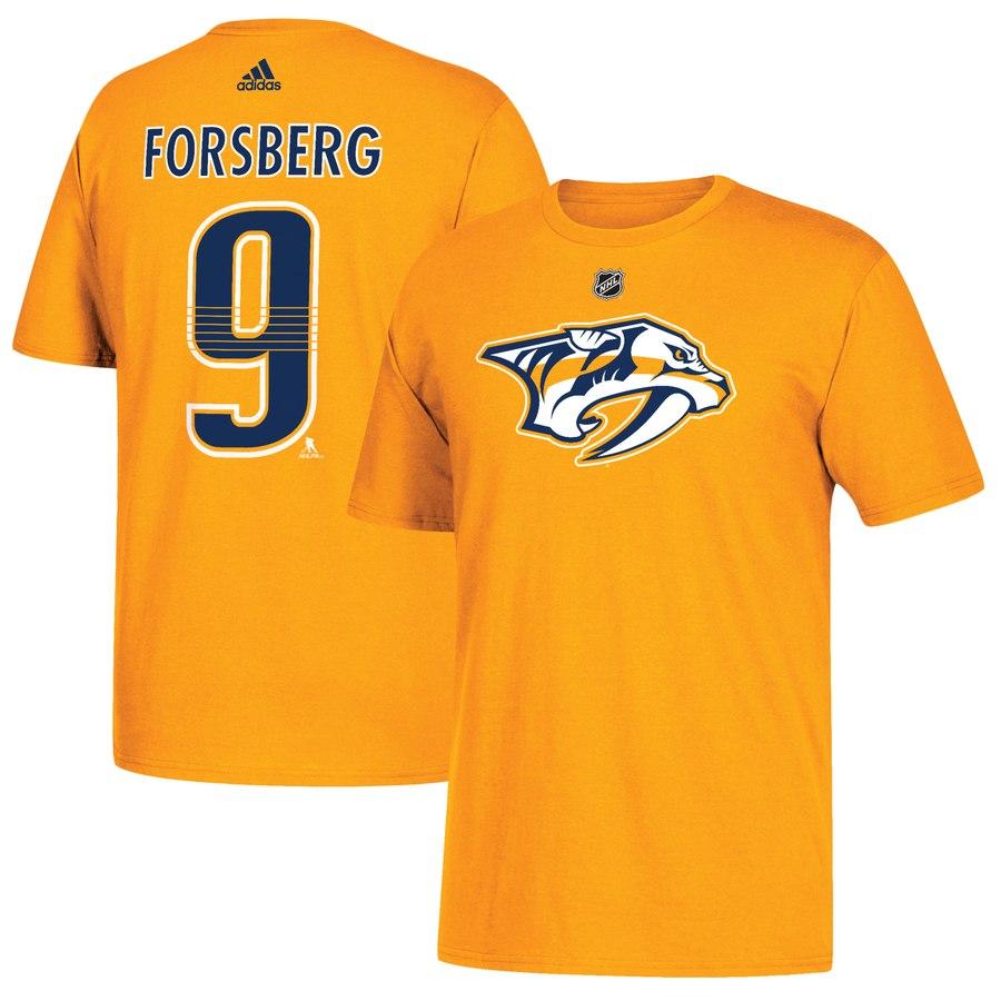 Nashville Predators #9 Filip Forsberg adidas Name & Number T-Shirt Gold