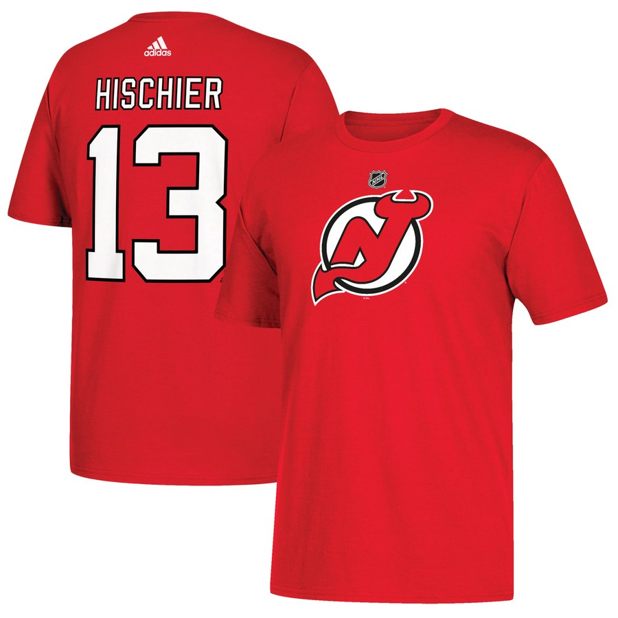 New Jersey Devils #13 Nico Hischier adidas Name & Number T-Shirt Red