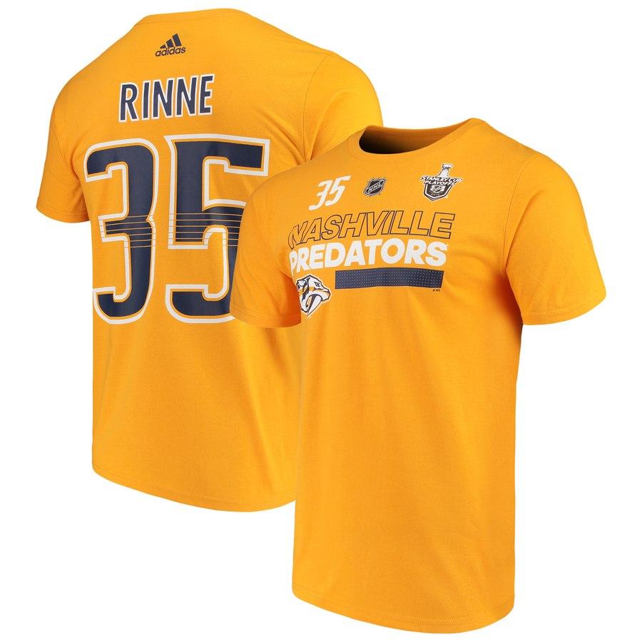 Nashville Predators #35 Pekka Rinne adidas 2018 Stanley Cup Playoffs Participant Name & Number T-Shirt Gold