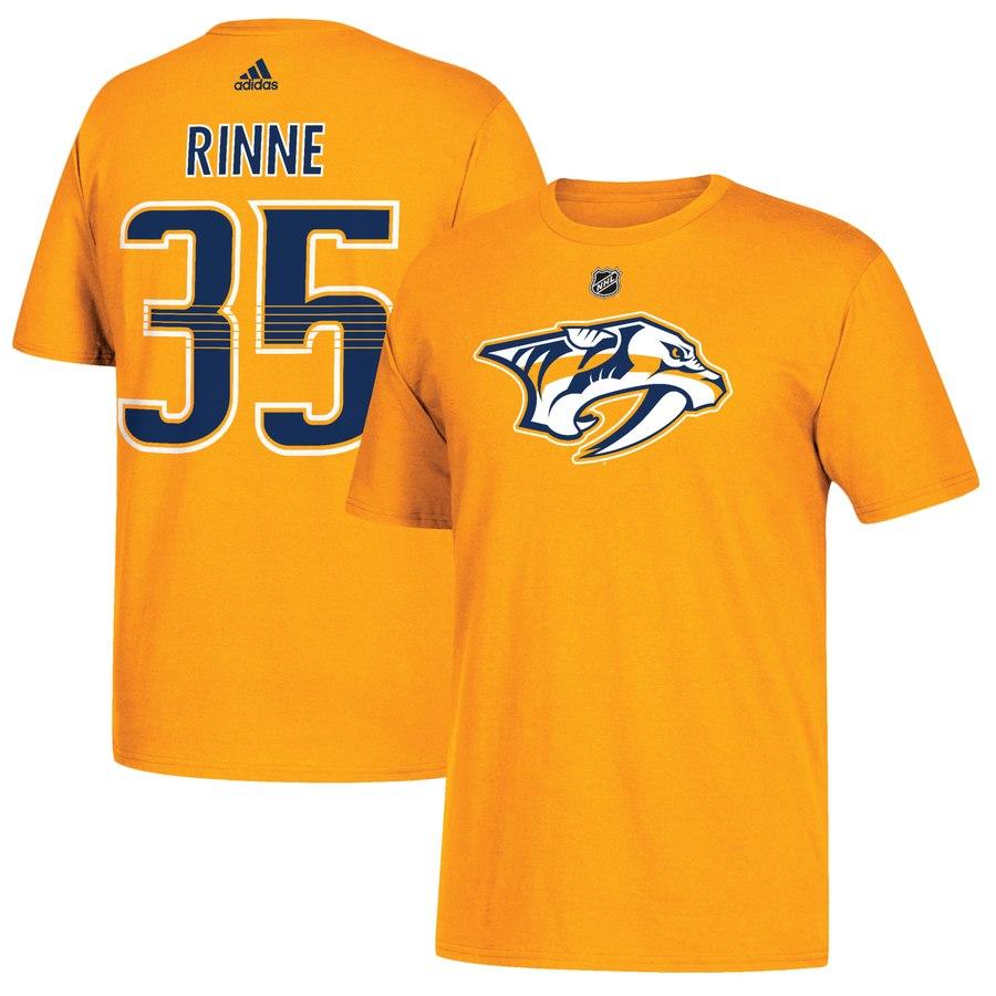 Nashville Predators #35 Pekka Rinne adidas Name & Number T-Shirt Gold