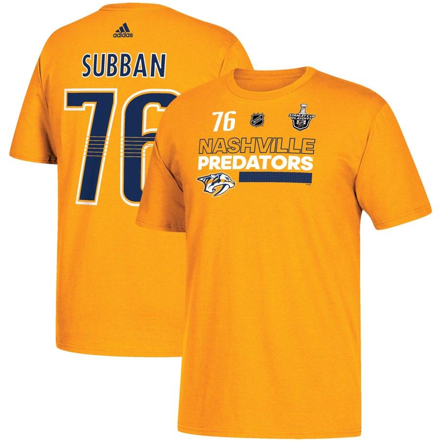 Nashville Predators #76 PK Subban adidas 2018 Stanley Cup Playoffs Participant Name & Number T-Shirt Gold