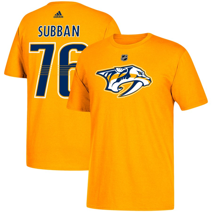 Nashville Predators #76 PK Subban adidas Name & Number T-Shirt Gold
