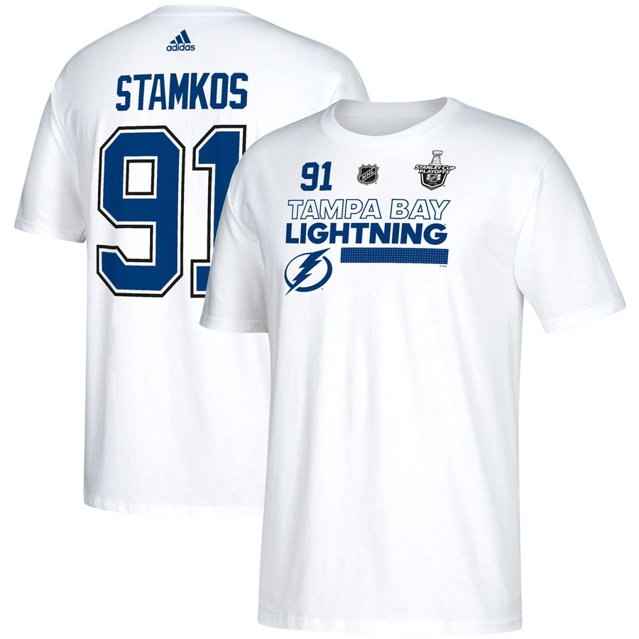 Tampa Bay Lightning #91 Steven Stamkos adidas 2018 Stanley Cup Playoffs Participant Name & Number T-Shirt White