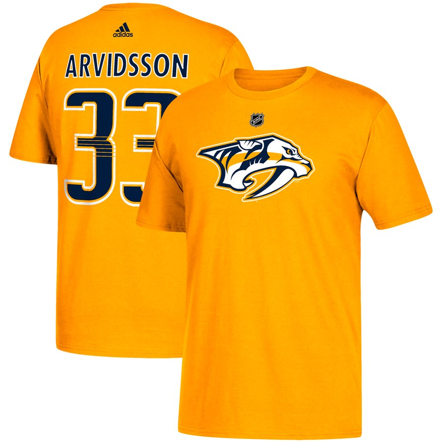 Nashville Predators #33 Viktor Arvidsson adidas Name & Number T-Shirt Gold