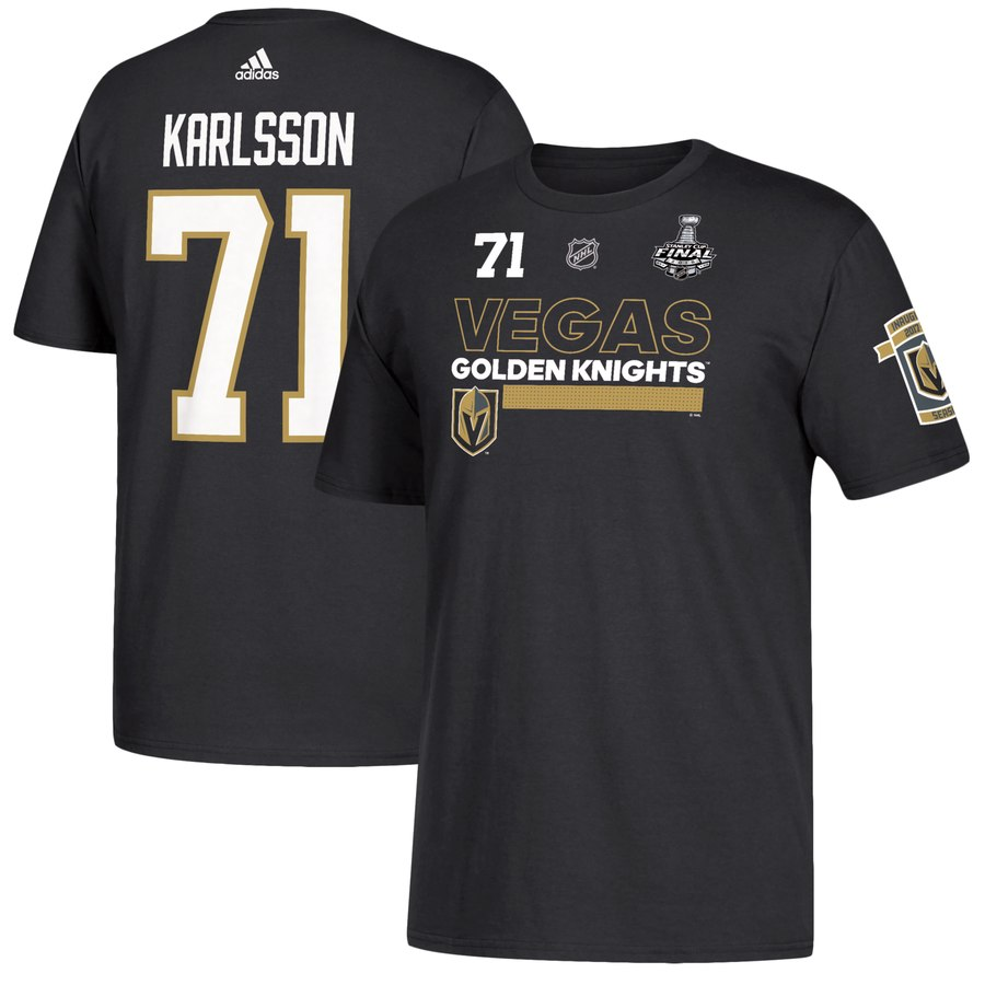 Vegas Golden Knights #71 William Karlsson adidas 2018 Stanley Cup Final Bound Name & Number T-Shirt Black