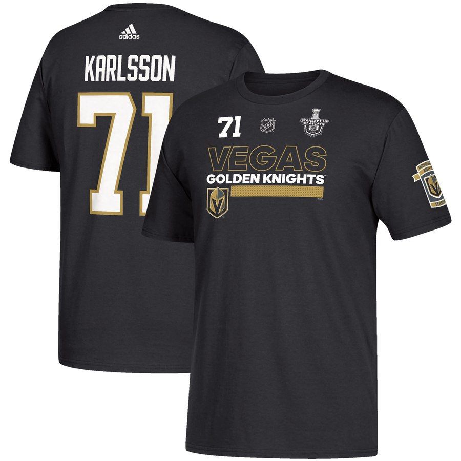 Vegas Golden Knights #71 William Karlsson adidas 2018 Stanley Cup Playoffs Participant Name & Number T-Shirt Black