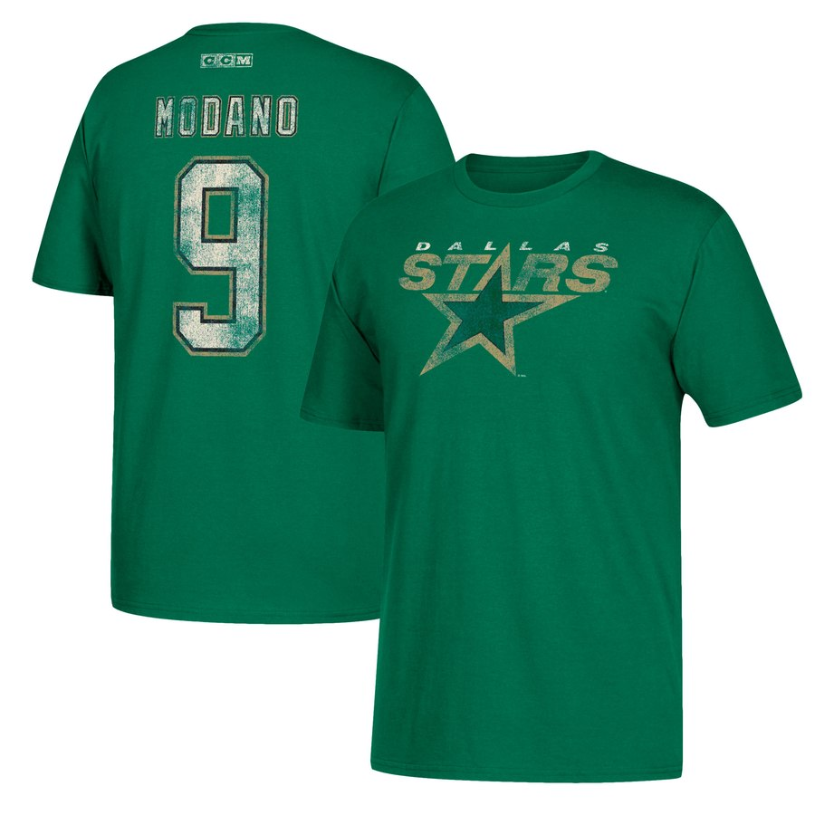 Dallas Stars #9 Mike Modano CCM Retired Player Name & Number T-Shirt Green