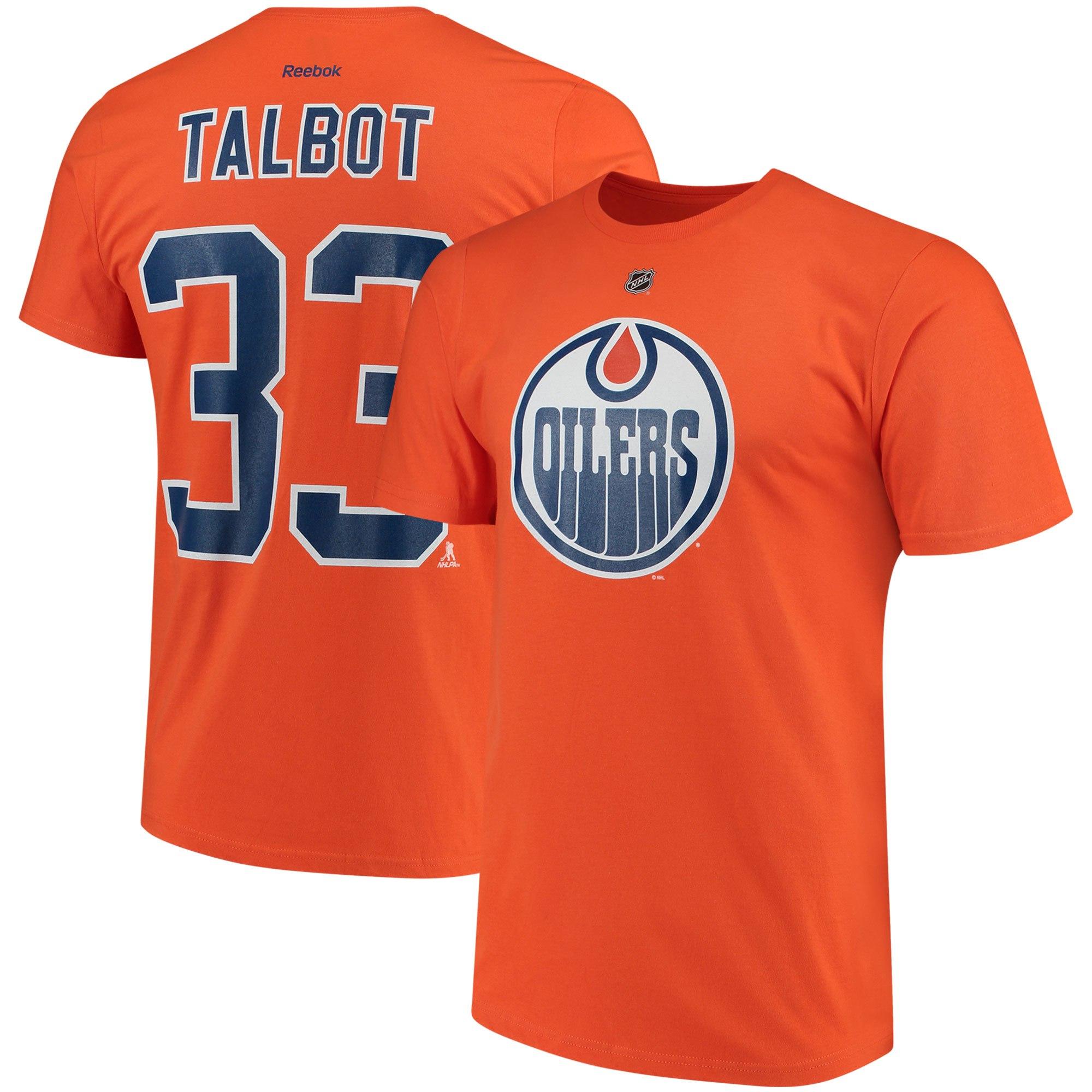 Edmonton Oilers #33 Cam Talbot Reebok Name & Number T-Shirt Orange