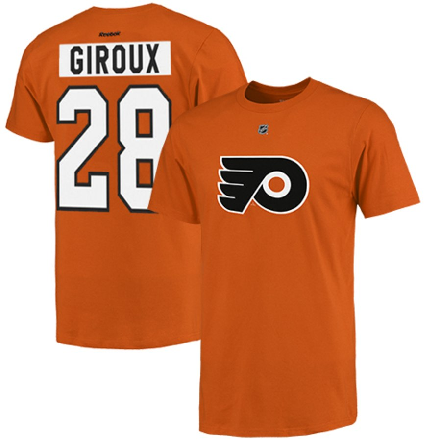 Philadelphia Flyers #28 Claude Giroux Reebok Name and Number Player T-Shirt Orange