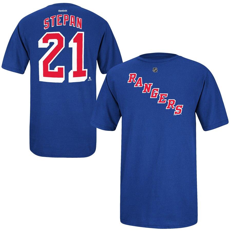 New York Rangers #21 Derek Stepan Reebok Name and Number Player T-Shirt Royal