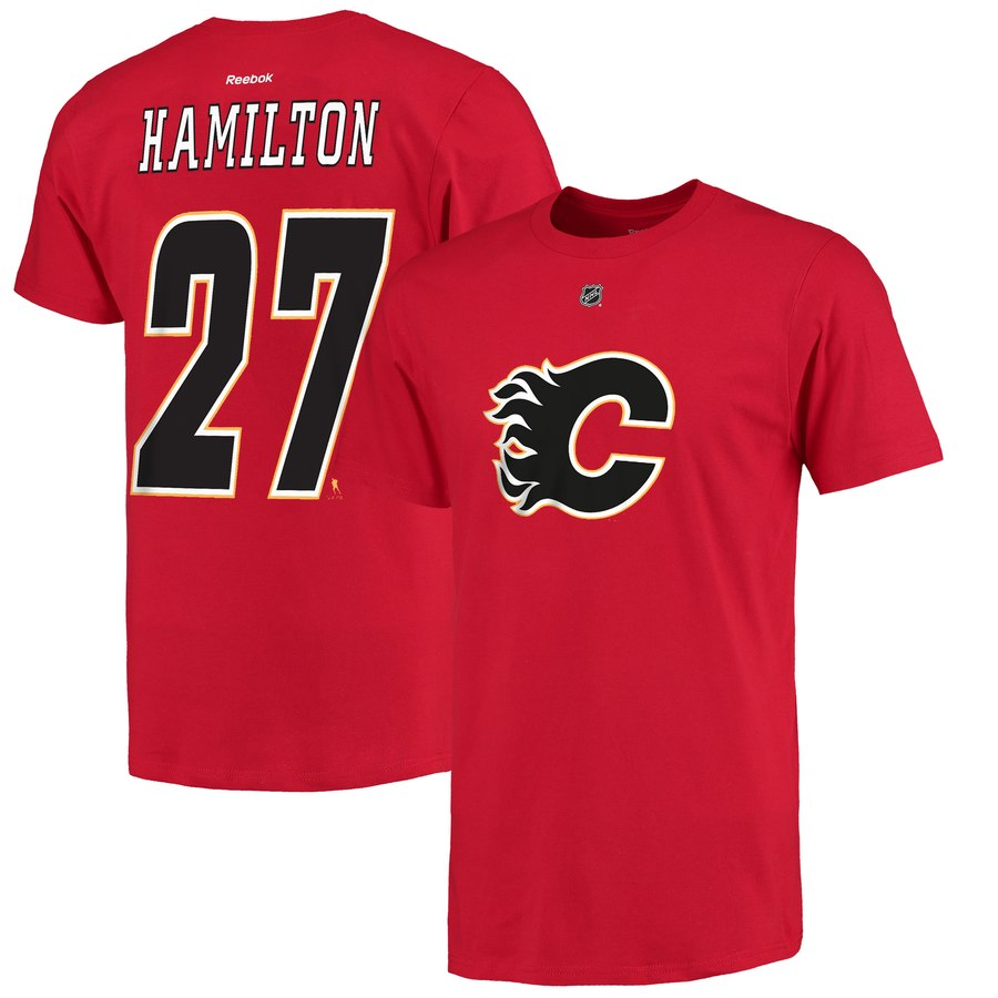 Calgary Flames #27 Dougie Hamilton Reebok Name & Number T-Shirt Red