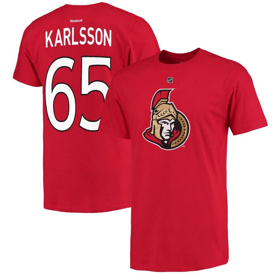 Ottawa Senators #65 Erik Karlsson Reebok Name and Number Player T-Shirt Red