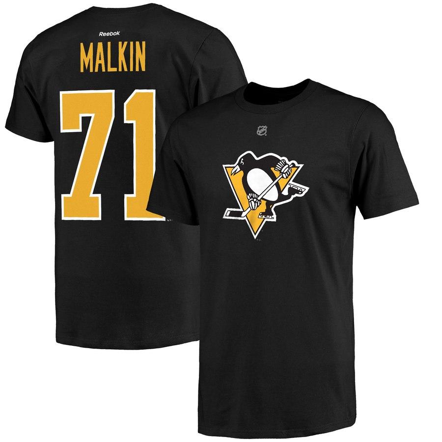 Pittsburgh Penguins #71 Evgeni Malkin Reebok Alternate Name and Number Player T-Shirt Black