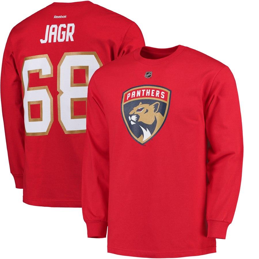 Florida Panthers #68 Jaromir Jagr Reebok Long Sleeve Name & Number T-Shirt Red