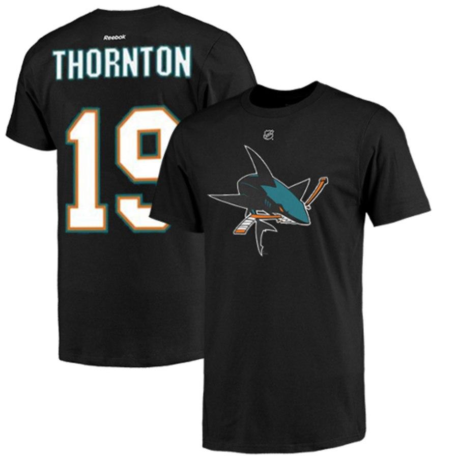 San Jose Sharks #19 Joe Thornton Reebok Name and Number Player T-Shirt Black