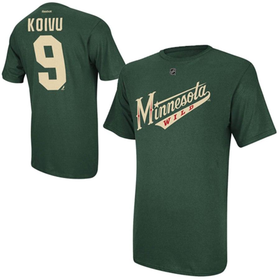 Minnesota Wild #9 Mikko Koivu Reebok Name and Number Player T-Shirt Green