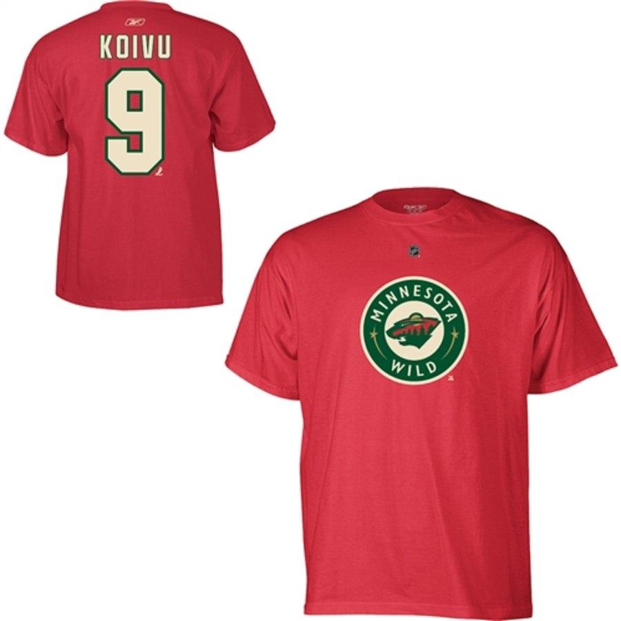 Minnesota Wild #9 Mikko Koivu Reebok Name and Number Player T-Shirt Red