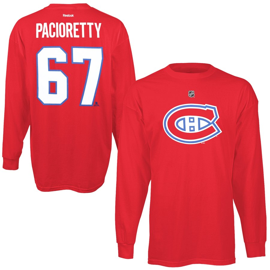 Montreal Canadiens #67 Max Pacioretty Reebok Name & Number Long Sleeve T-Shirt Red