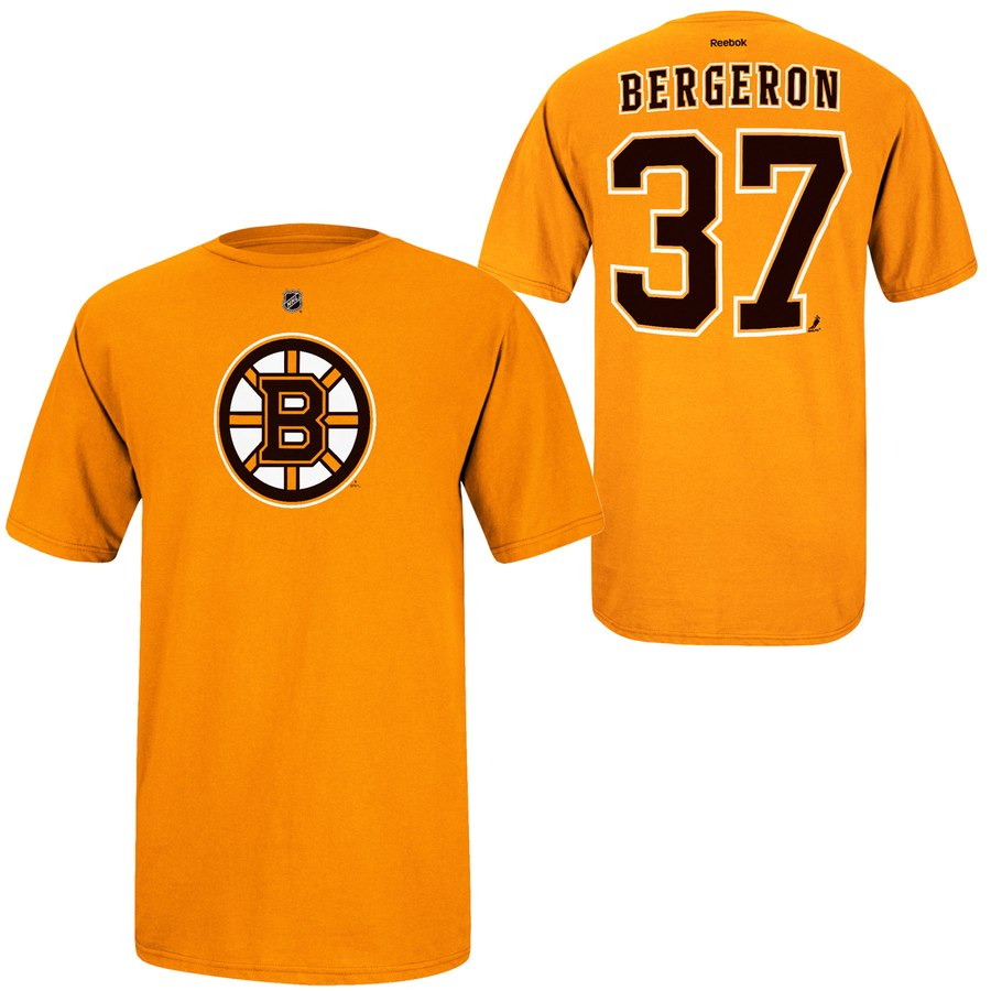 Boston Bruins #37 Patrice Bergeron Reebok Name and Number Player T-Shirt Gold