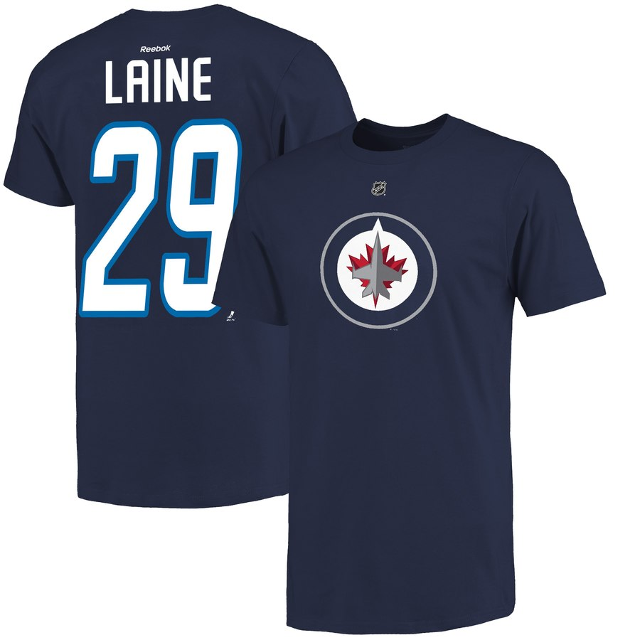 Winnipeg Jets #29 Patrik Laine Reebok Name & Number T-Shirt Navy