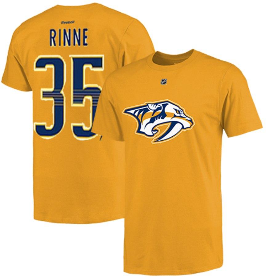 Nashville Predators #35 Pekka Rinne Reebok Name and Number Player T-Shirt Gold