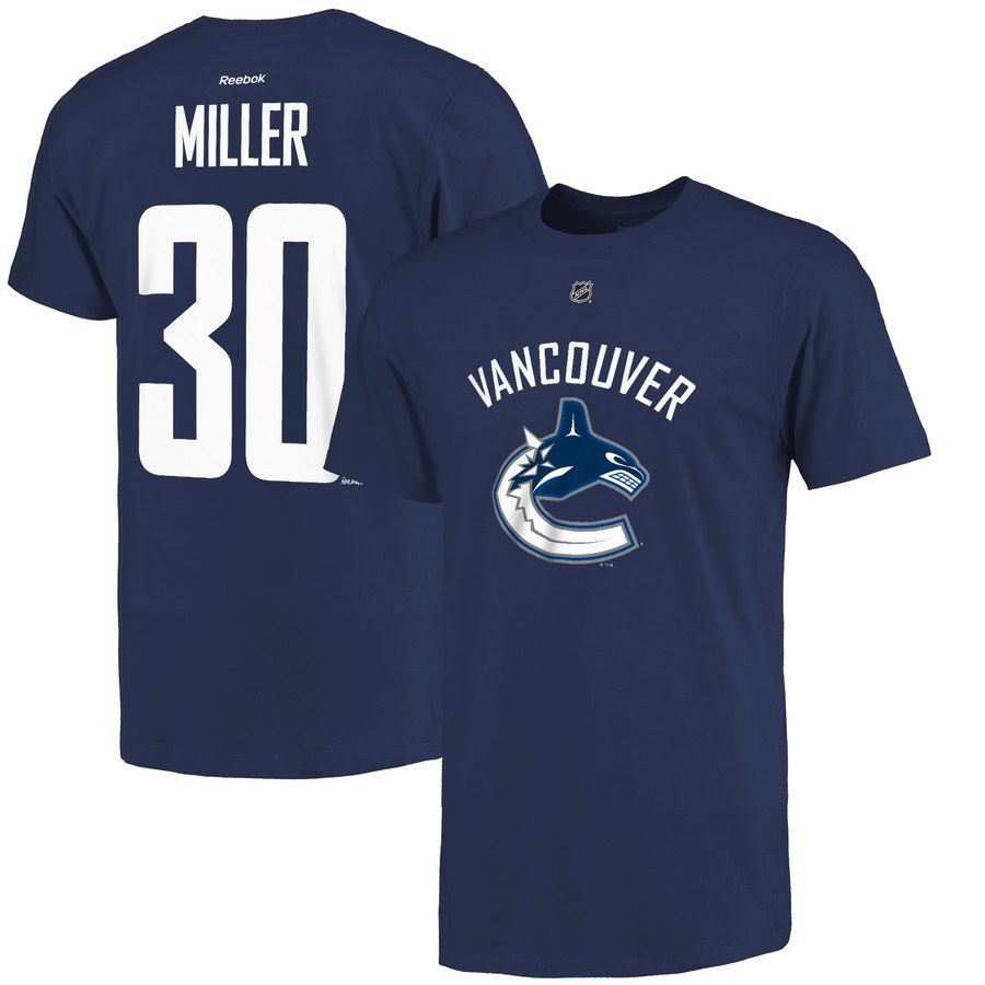 Vancouver Canucks #30 Ryan Miller Reebok Name and Number Player T-Shirt Navy