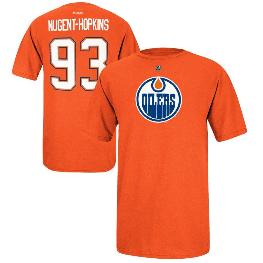 Edmonton Oilers #93 Ryan Nugent-Hopkins Reebok Name and Number Player T-Shirt Orange