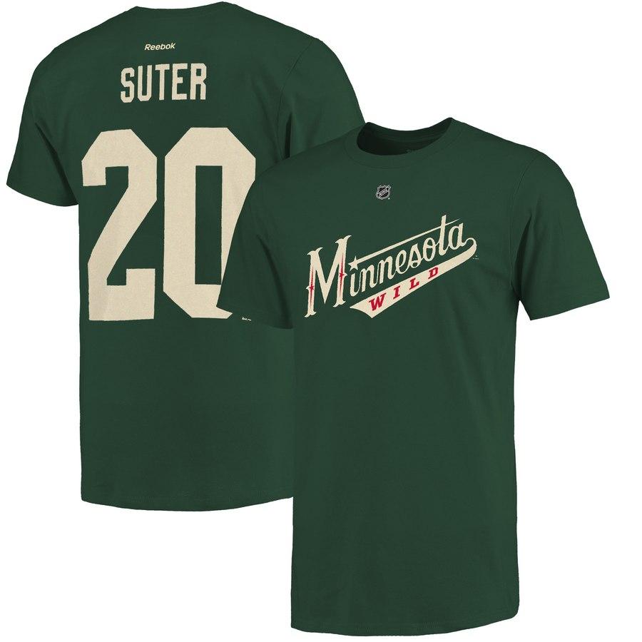 Minnesota Wild #20 Ryan Suter Reebok Name and Number Player T-Shirt Green