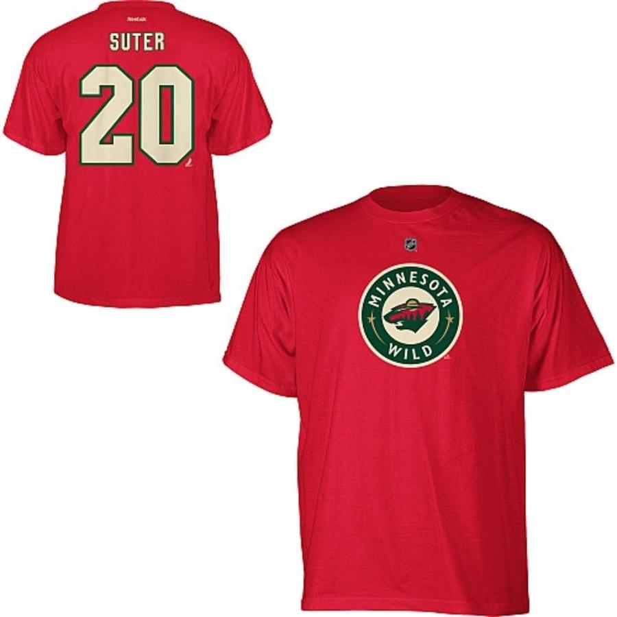 Minnesota Wild #20 Ryan Suter Reebok Name and Number Player T-Shirt Red
