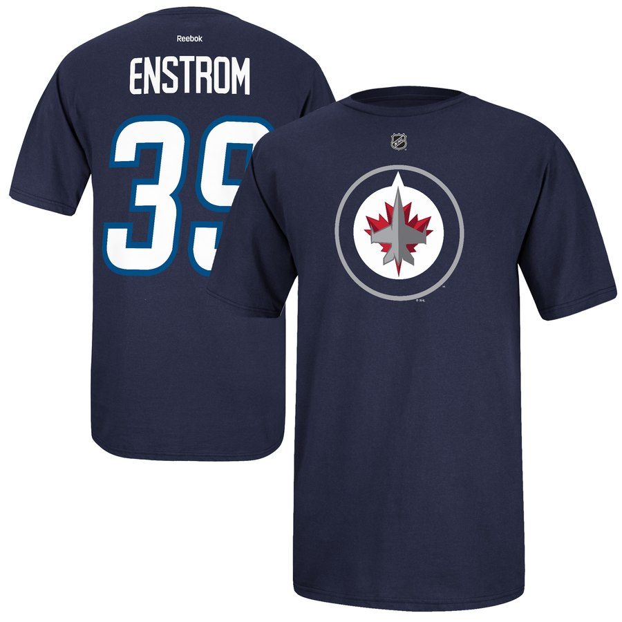 Winnipeg Jets #39 Tobias Enstrom Reebok Name and Number Player T-Shirt Navy