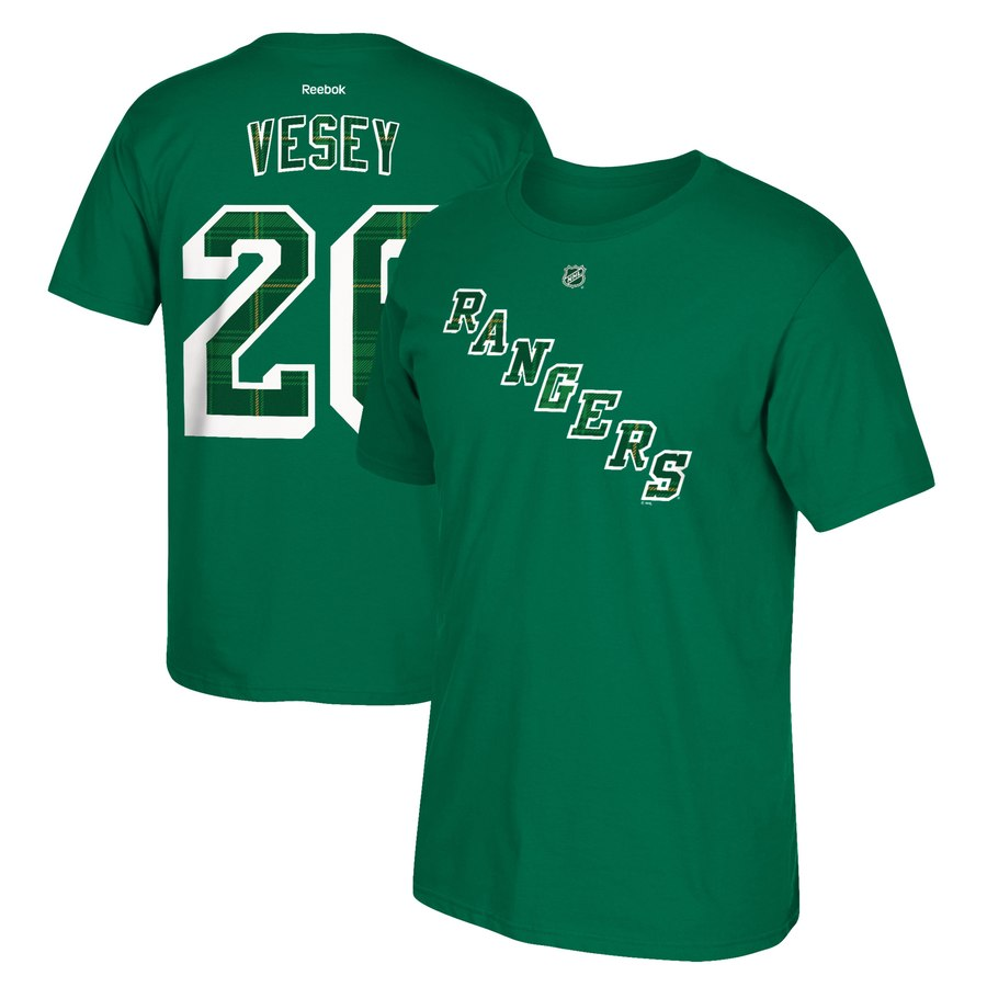 New York Rangers #26 Jimmy Vesey Reebok St. Paddy's Day Name & Number T-Shirt Green