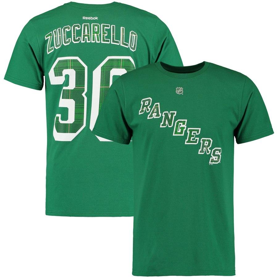 New York Rangers #36 Mats Zuccarello Reebok St. Paddy's Name & Number T-Shirt Green