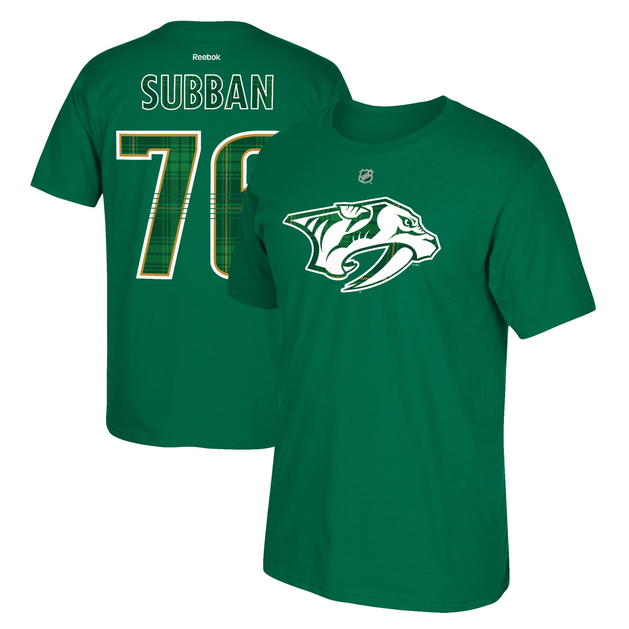 Nashville Predators #76 PK Subban Reebok St. Paddy's Day Name & Number T-Shirt Green