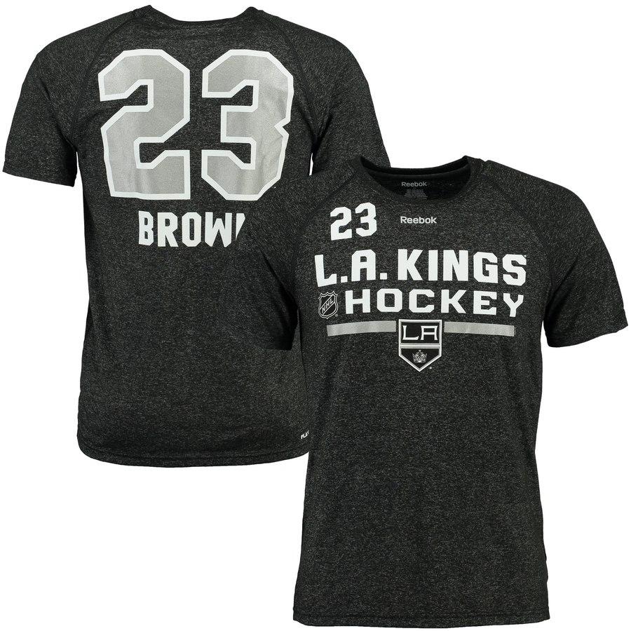 Los Angeles Kings #23 Dustin Brown Reebok Center Ice Freeze Supremium Name & Number T-Shirt Black
