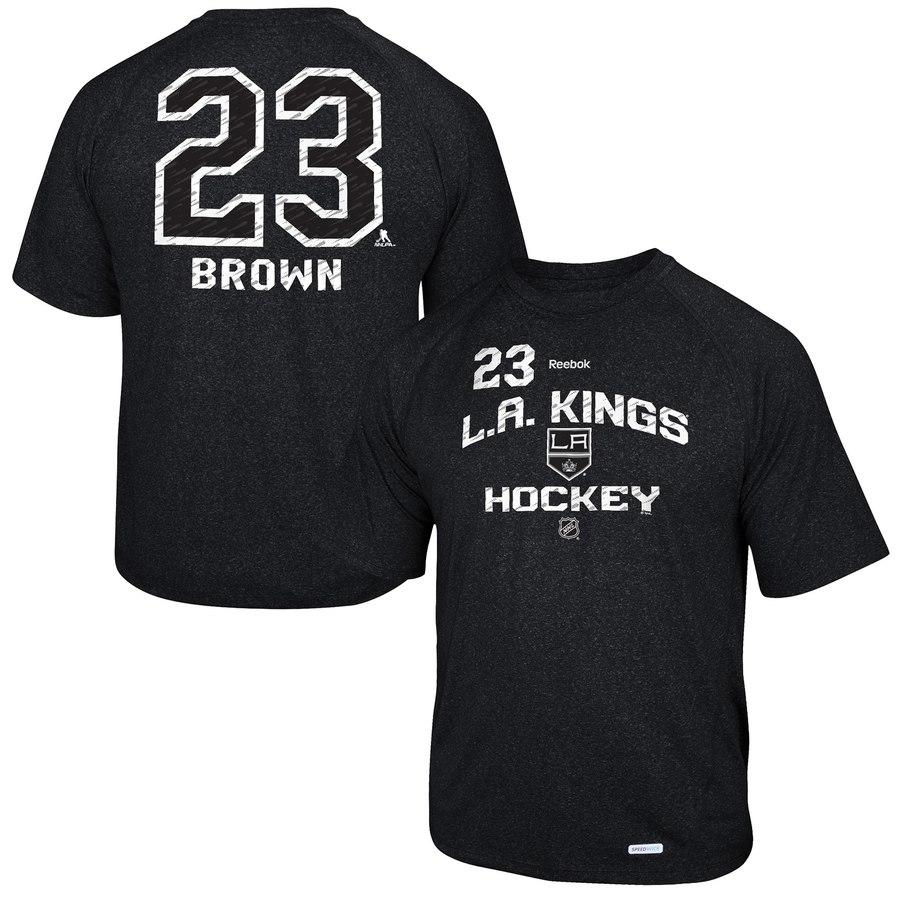 Los Angeles Kings #23 Dustin Brown Reebok No. 23 Locker Status Name & Number Speed Wick T-Shirt Black