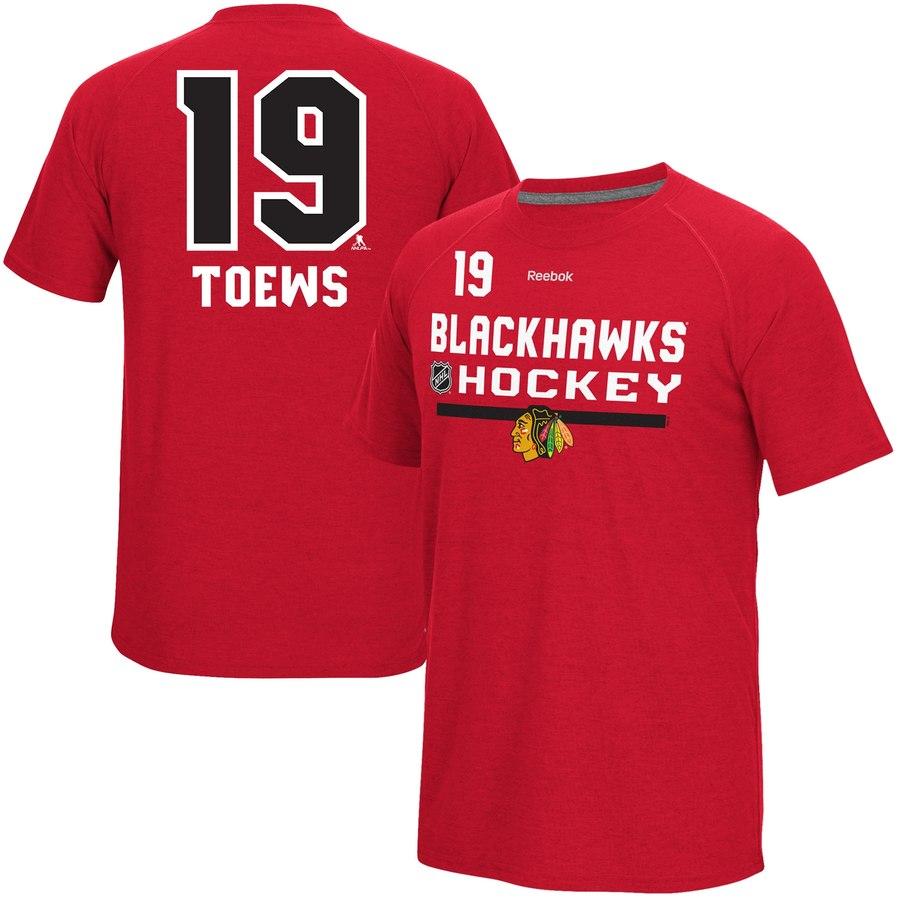 Chicago Blackhawks #19 Jonathan Toews Reebok CI Freeze Supremium Name & Number T-Shirt Red