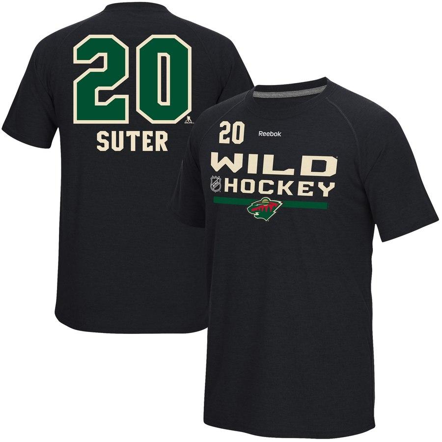 Minnesota Wild #20 Ryan Suter Reebok Center Ice Freeze Supremium Name & Number T-Shirt Black